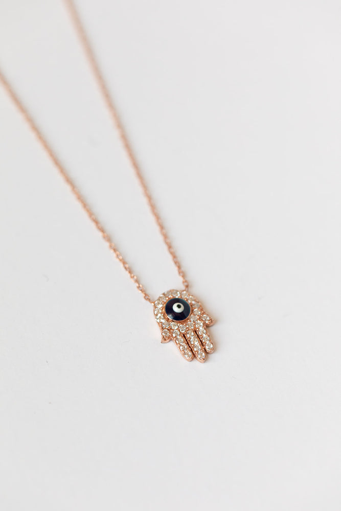Load image into Gallery viewer, Hamsa + Evil Eye Rose Gold Necklace