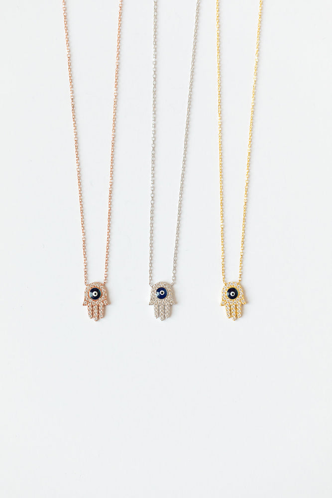 Hamsa + Evil Eye Sterling Silver Necklaces