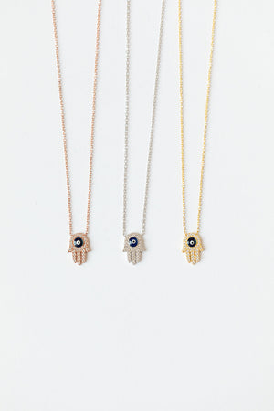 Load image into Gallery viewer, Hamsa + Evil Eye Sterling Silver Necklaces