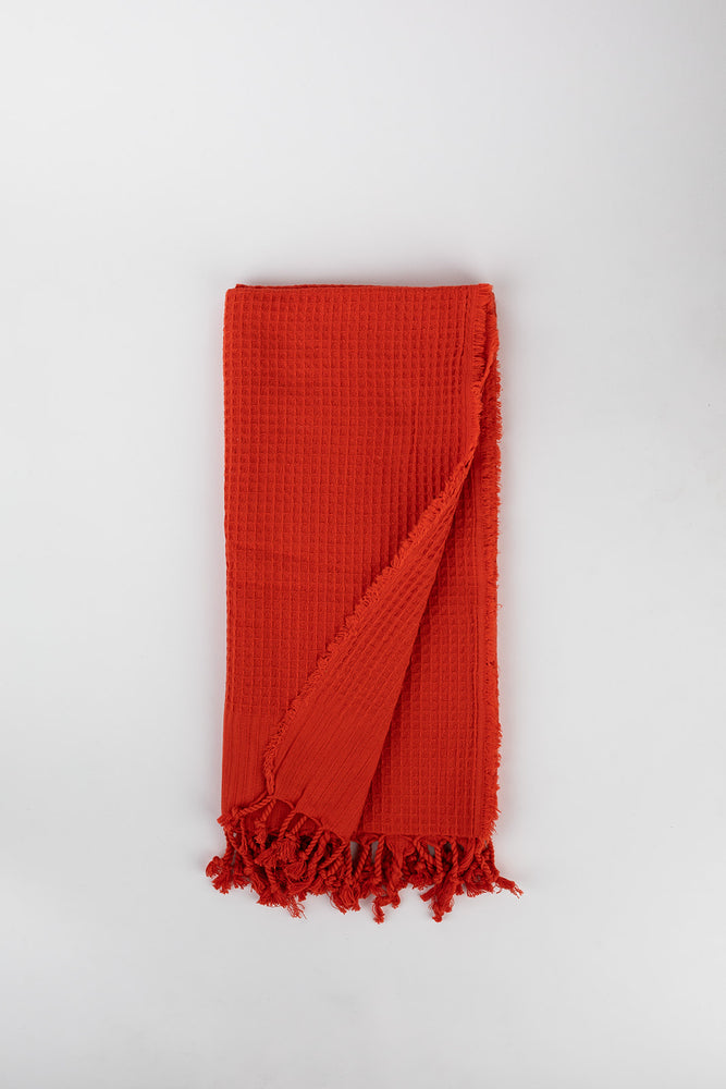 Load image into Gallery viewer, Waffle Weave Turkish Towel in Cherry