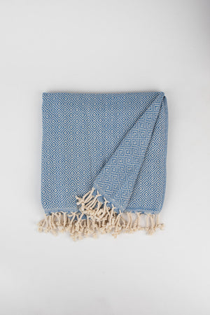 Load image into Gallery viewer, Geometric Diamond Weave Turkish Towel in Lapis