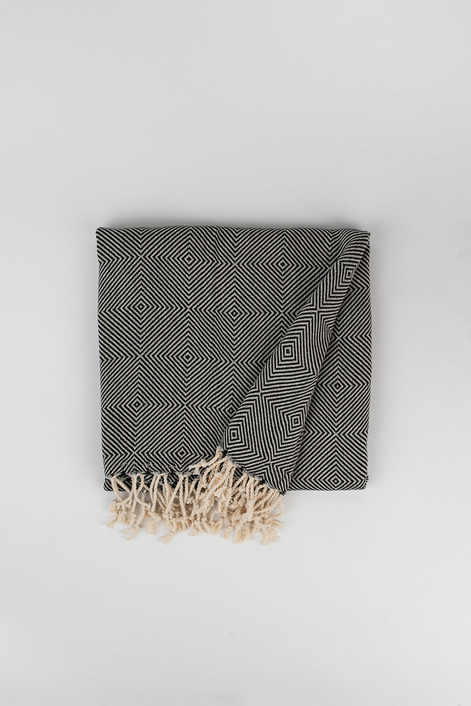 Geometric Large Diamond Weave Turkish Towel in Charcoal