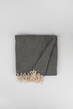 Load image into Gallery viewer, Geometric Large Diamond Weave Turkish Towel in Charcoal