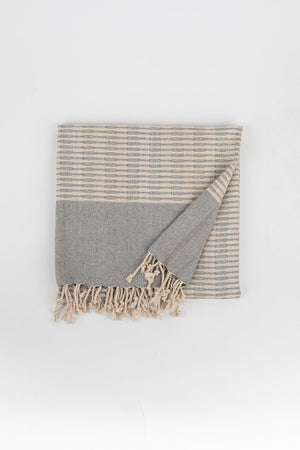 Raised Weave Turkish Towel in Pewter