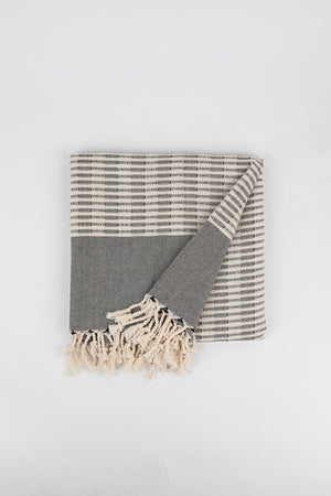 Raised Weave Turkish Towel in Charcoal