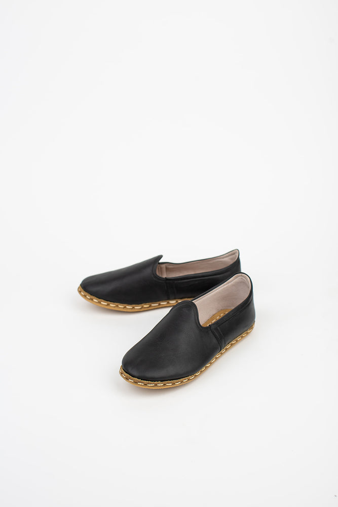 Neutral Leather Slip On Shoes in Black