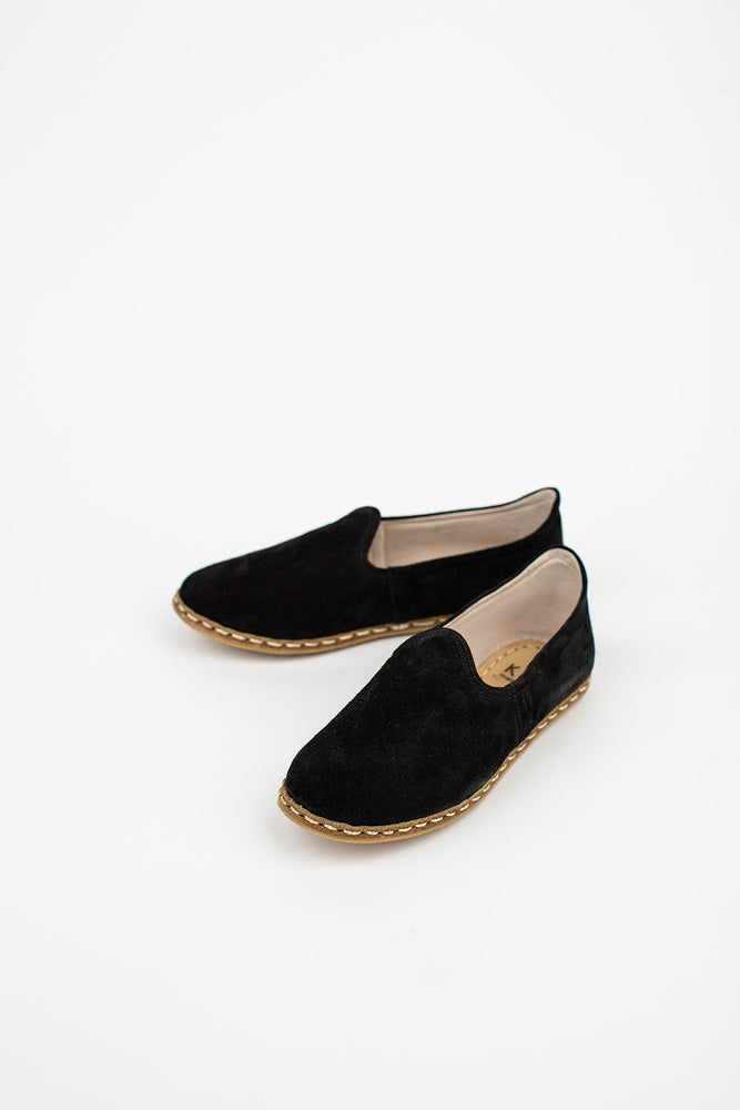 Neutral Suede Slip On in Black