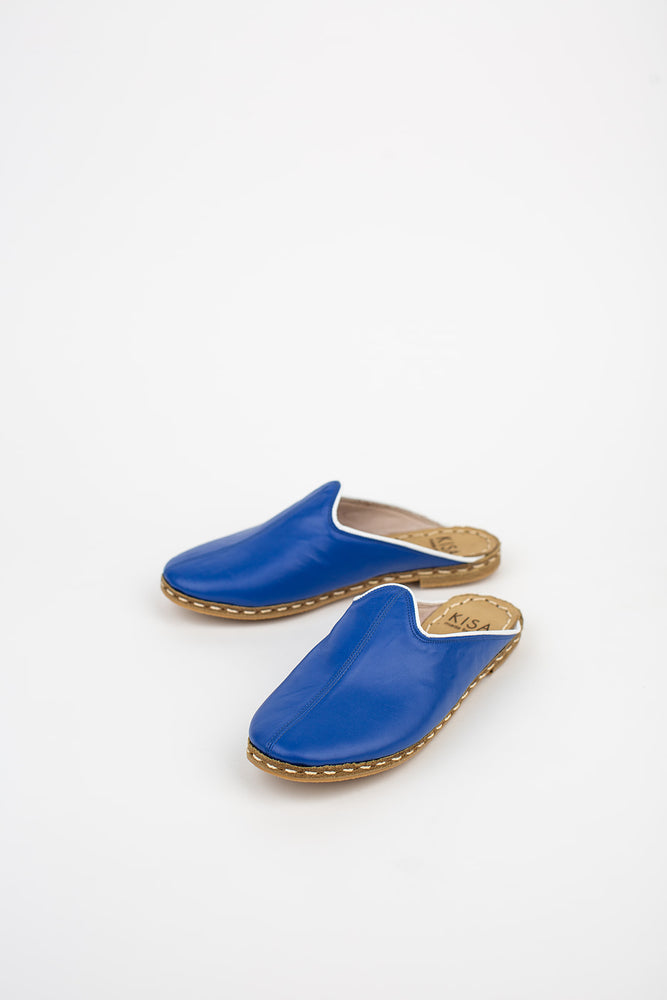 Blue Leather Mules with White Trim