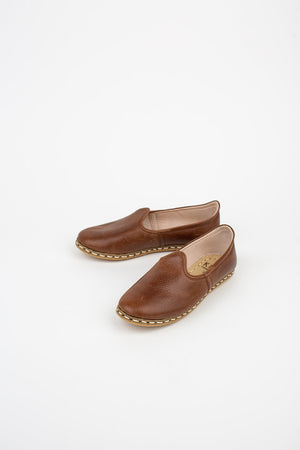 Neutral Leather Slip On Shoes in Brown