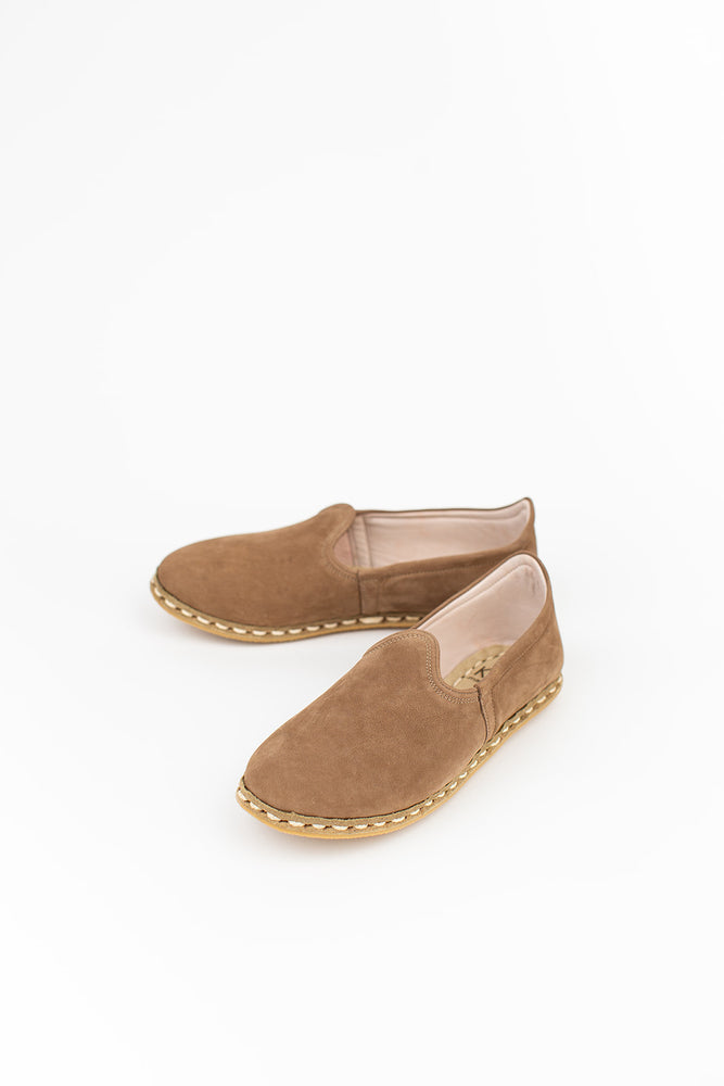 Neutral Suede Slip On in Brown