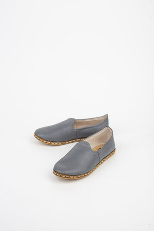 Neutral Leather Slip On Shoes in Grey