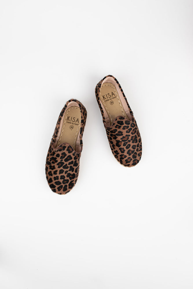 Bold Leather Slip On Shoes in Leopard Print