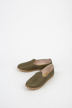 Neutral Leather Slip On Shoes in Olive