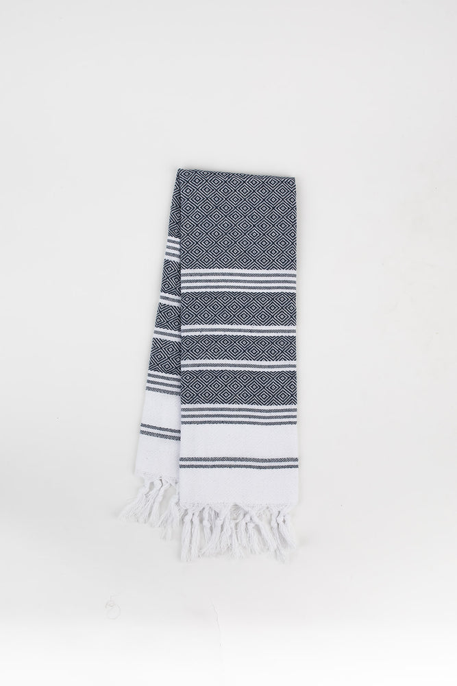 Load image into Gallery viewer, Diamond Stripe Hand Towel in Denim