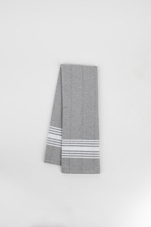 White Stripe Hand Towel in Pewter