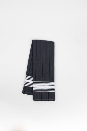 White Stripe Hand Towel in Charcoal