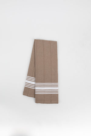 White Stripe Hand Towel in Walnut