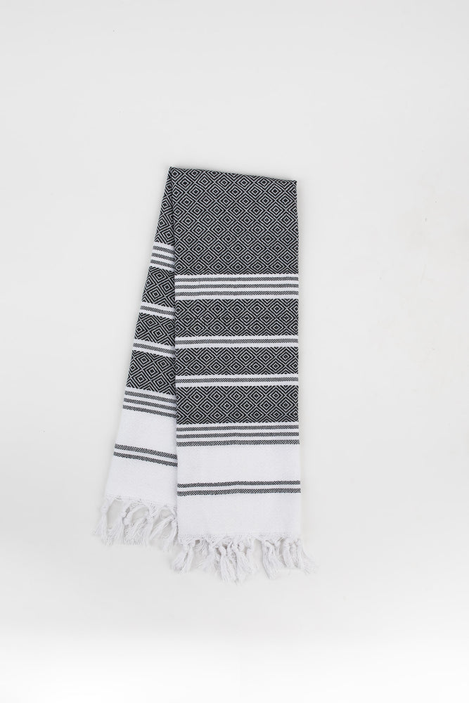 Load image into Gallery viewer, Diamond Stripe Hand Towel in Charcoal