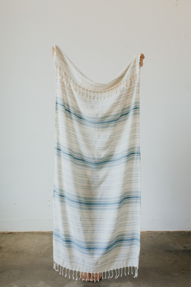 Load image into Gallery viewer, Ribbon Turkish Towel in Teal