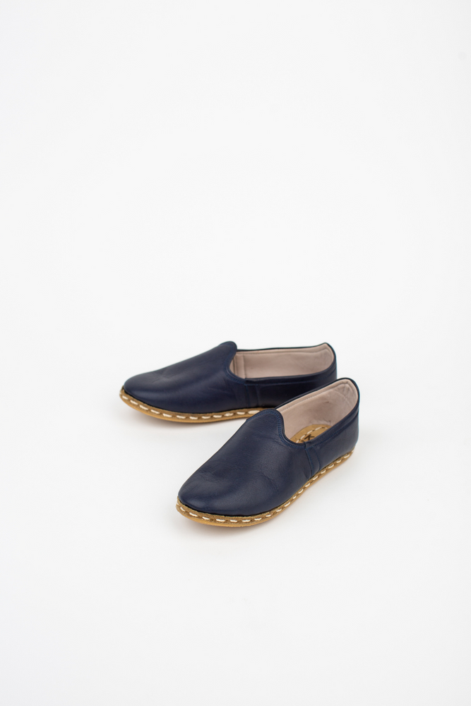 Neutral Leather Slip On Shoes in Navy