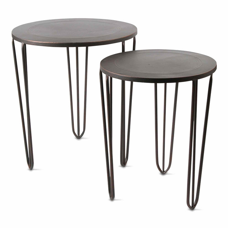 TAG Two Antique Bronze Burnished Nesting Tables