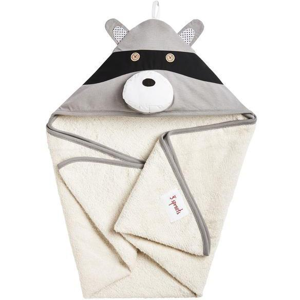 3 Sprouts Hooded Towel Raccoon