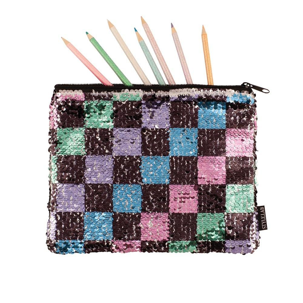 Fashion Angels Checkerboard Sequin Pouch