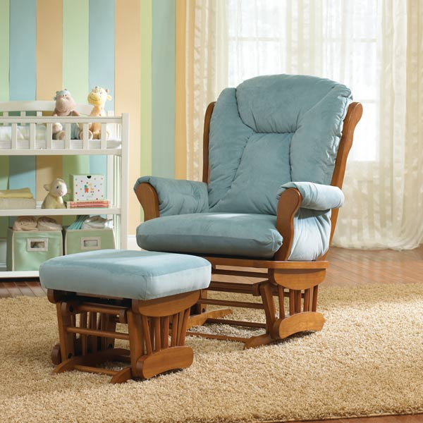 Megan Custom Fabric Nursery Wooden Glider & Ottoman