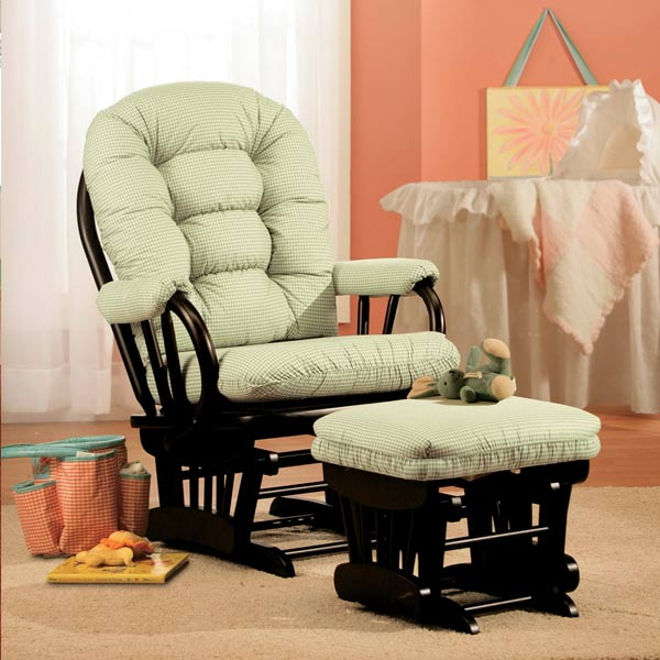 Stella Custom Fabric Nursery Wooden Glider & Ottoman