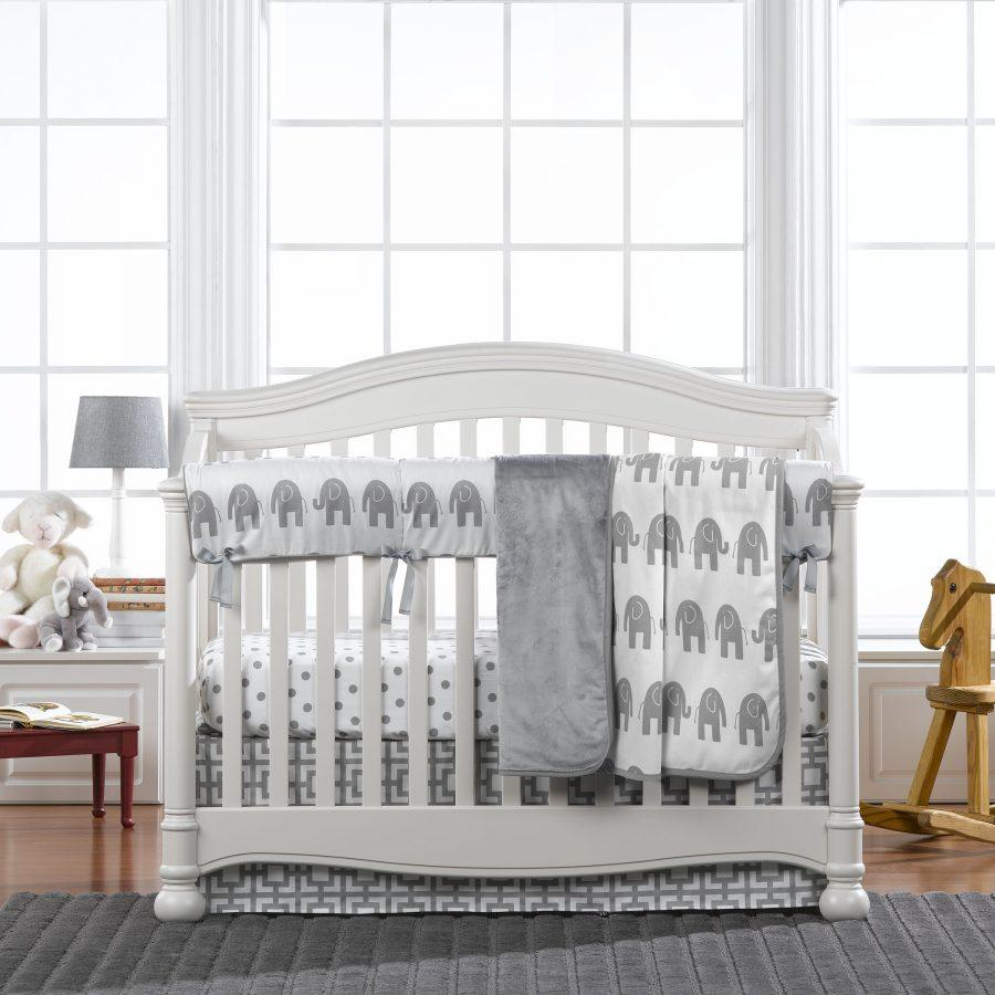 Liz Amp Roo Gray Elephant Bumperless Crib Bedding 4 Pc Set