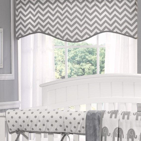 Liz & Roo Gray Chevron Window Valance