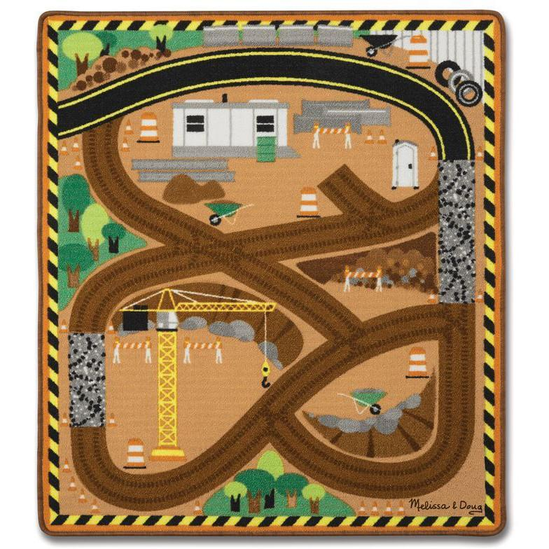 Melissa & Doug Round the Construction Zone Rug & Vehicle Set