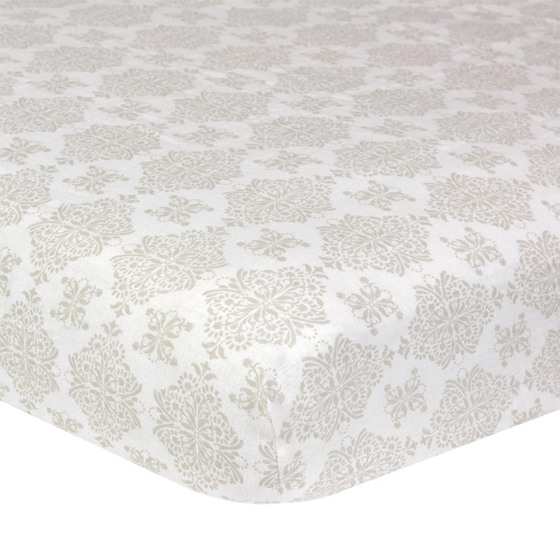 Medallion Washed Linen Crib Sheet