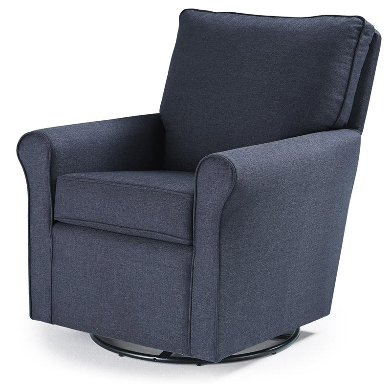 Upholstered Swivel Glider in Navy