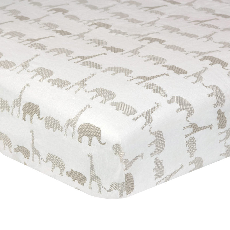 Safari Washed Linen Crib Sheet