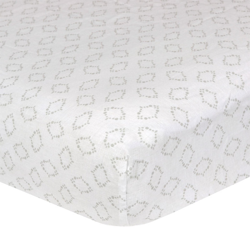 Soft Geo Print Washed Linen Crib Sheet