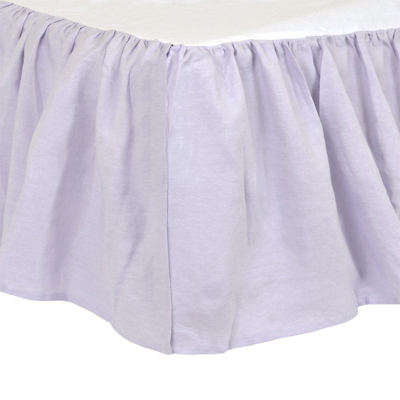 Soft Lilac Washed Linen Crib Skirt