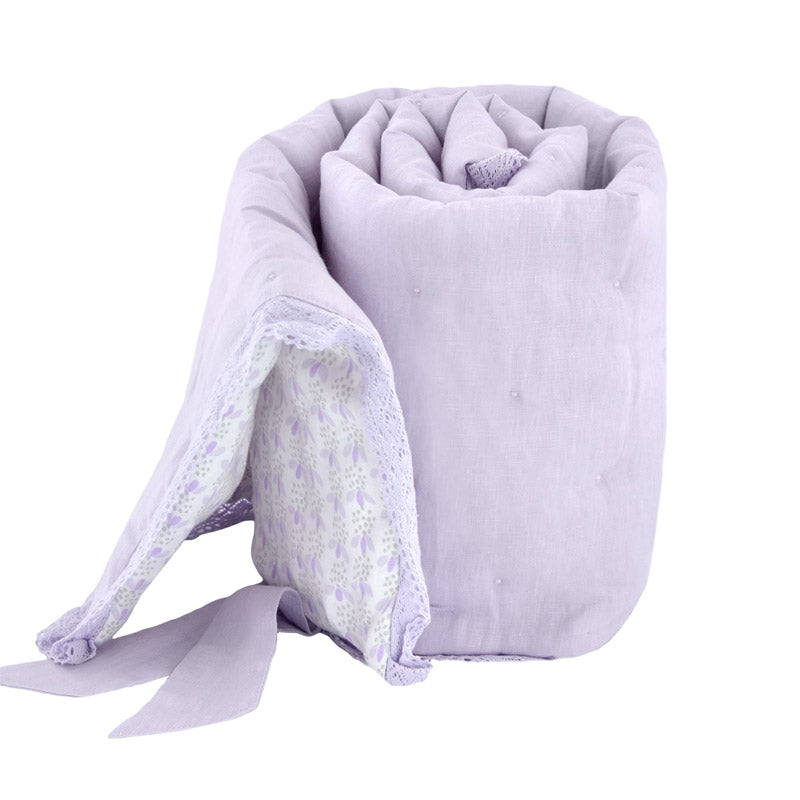 Soft Lilac Washed Linen Rail Cover