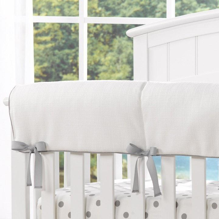 Liz & Roo White Woven Crib Rail Cover (Gray Trim)