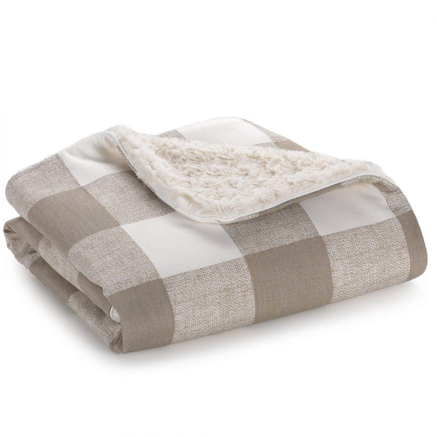Liz & Roo Buffalo Check (Taupe) Minky Receiving Blanket