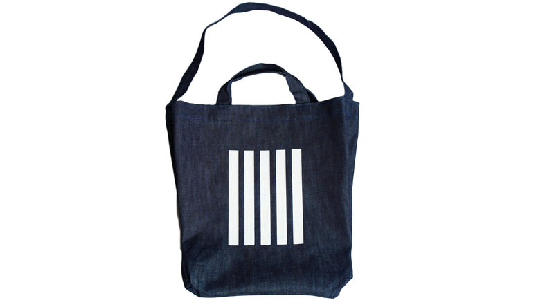 Black and White Stripes Denim Tote Bag [Limited Brooklyn Drop]