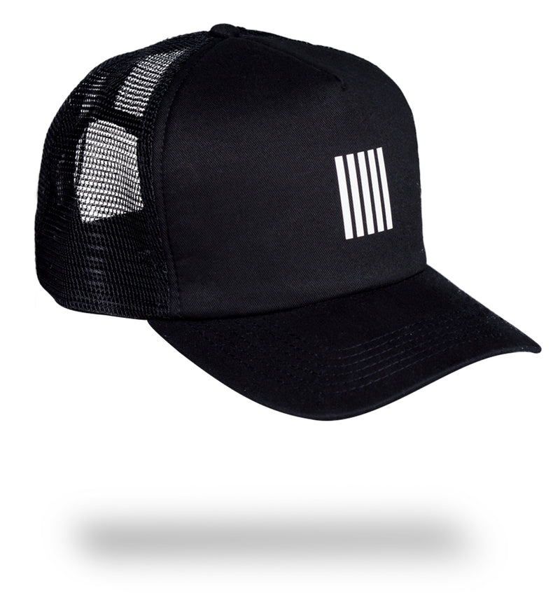 B&W STRIPES TRUCKER CAP