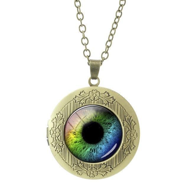 Locket Pendant Necklace Dragon Eye