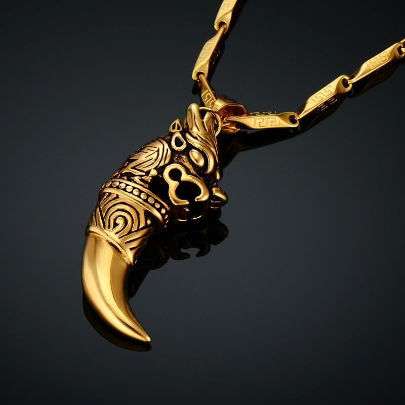 Male Chain Stainless Steel Dragon Amulet