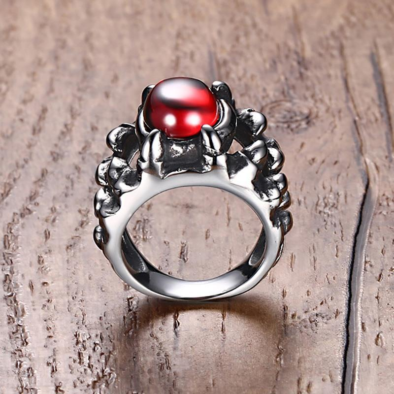 Red Crystal Gothic Dragon Tooth Ring Silver