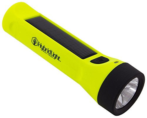 Hybridlight Journey - Solar / Rechargeable 160 Lumen LED Waterproof Flashlight. High / Low Beam, USB Cell Phone Charger, Built In Solar Panel Charges Indoors or Out,  Quick Charge using Included USB Cable, Hi Vis Yellow