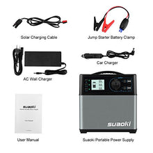 Suaoki 400Wh/120,000mAh Portable Solar Generator Lithium ion Power Source Power Supply with Quiet 300W DC/AC Inverter, 12V Car, DC/AC/USB Outputs, Charged by Solar Panel/AC Outlet/Cars