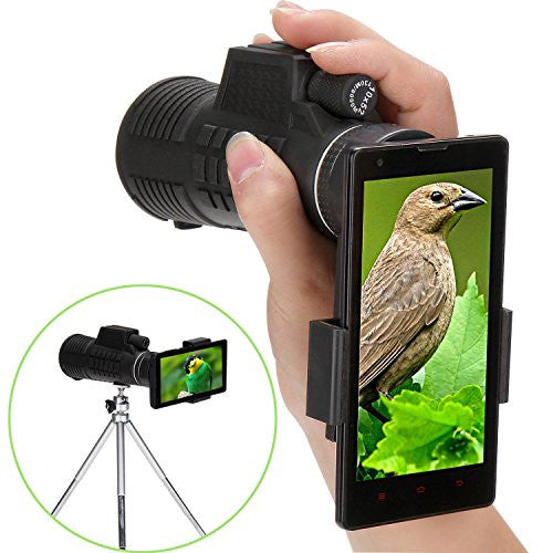 Monocular Telescope, Tonyhoney 10X52 Monocular Scope Handheld High Powered Telescope Waterproof for Bird Watching, Concert, Hunting, Surveillance, Black