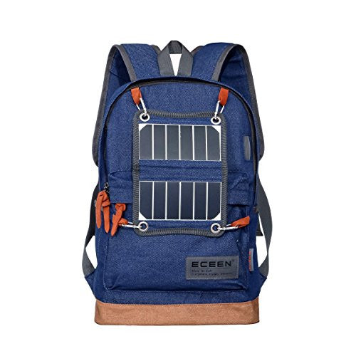 Hiking Daypack, Lightweight Backpack with Solar Charger and LED Camping Light for Hiking, Blackouts, Camp-out, Rechargeable Power Bank for iPhone, & Samsung Galaxy & More Other 5V USB-Charged Devices