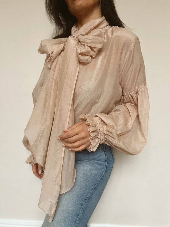 Bow Blouse in Nude Blush Silk Cotton